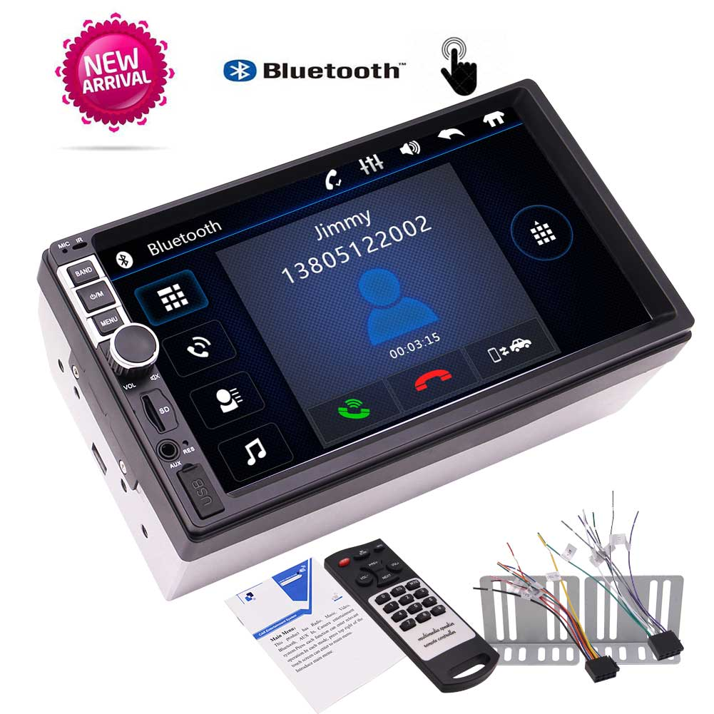 7 Inch Double Din Capacitive Touch Screen Car Stereo Bluetooth MP5 Player FM Car Radio SD/USB/AUX/Steering Wheel/Remote Control 12v 4 1 inch hd bluetooth car fm radio stereo mp3 mp5 lcd player steering wheel remote support usb tf card reader hands free