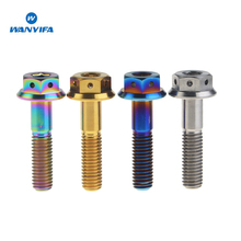 Titanium M8x 20 25 30 35 40 45 55mm 1.25 Pitch  Ti Flange Hex Head Bolt 5pcs anti theft ti bolt m14x1 25 m12x1 5 flange titanium bolt for car diy for racing cars ti color hex ti screws ti fasteners