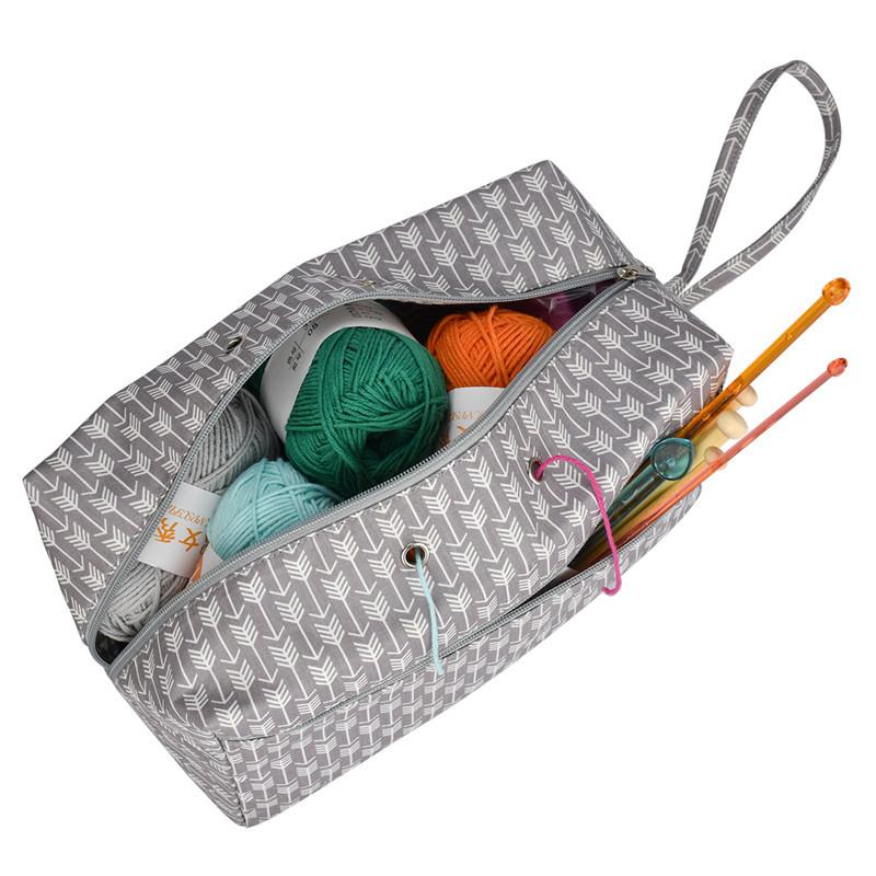 Women Tote Yarn Storage Bag Large Capacity Crochet Knitting Yarn Storage Organizer Bag Wool Ball Holder Tool Case Basket For Mom (12)