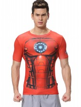Red Plume Men's Compression Tight Fitness Shirt,Silver Iron Man Armor Sports T-shirt