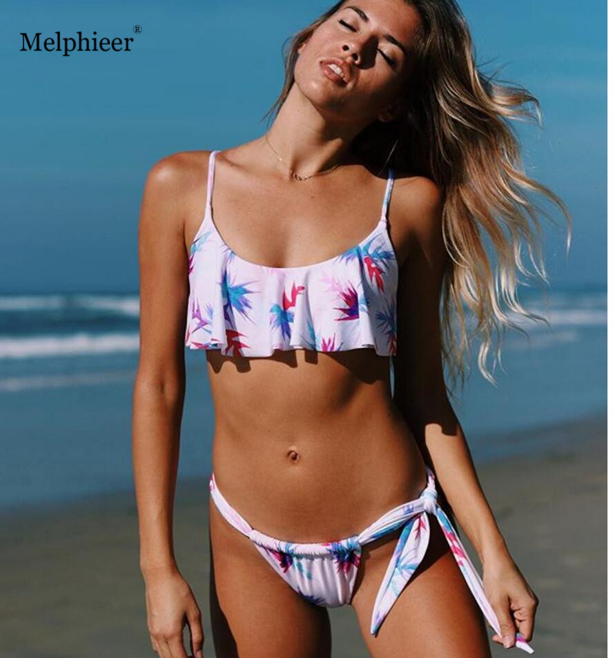Melphieer New Print Bikini Girls Sexy Beach Wear Hot Ruffle Swimsuit -6878