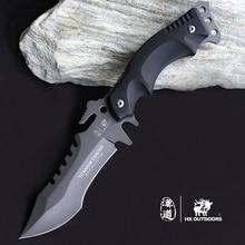 HX Outdoors Camping Knife Hunting Survival Karambit Kinves Tactical Fixed Saber Blade Pocket EDC Tools 440C Titanium Cool Steel