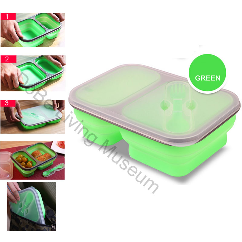 1000 ml eco friendly silicone folding microwave bento lunch box with fork in portable lunch box. Black Bedroom Furniture Sets. Home Design Ideas