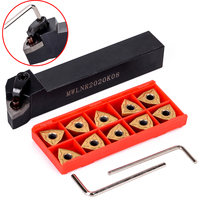 10pcs Golden WNMG080404 Carbide Inserts MWLNR2020K08 Lathe Turning Tool Holder 125mm With Wrench For Semi Finishing