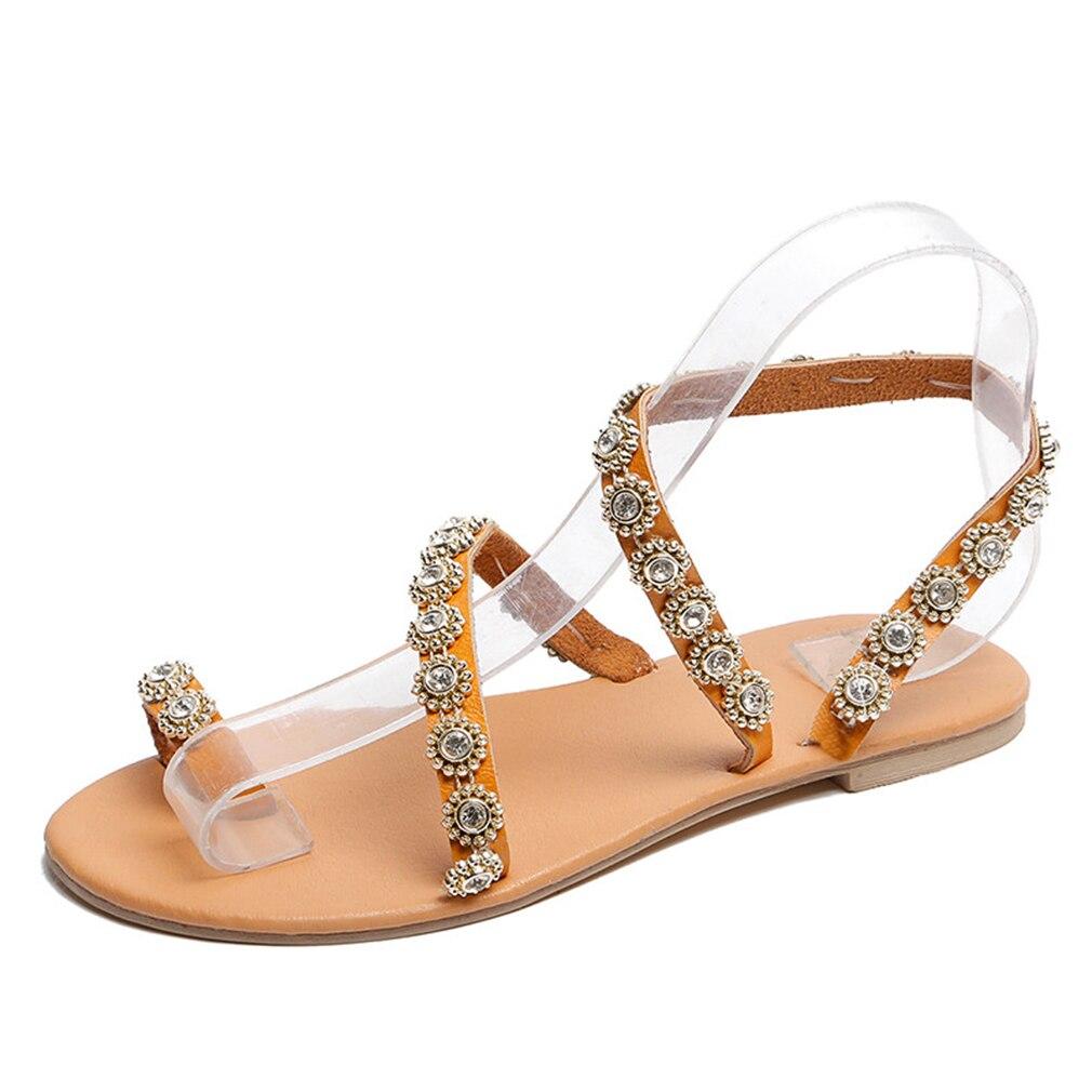 HTB129ylbsnrK1RjSspkq6yuvXXab Women Sandals Gladiator 2019 Summer Casual Shoes Bohemia mujer Wedding Shoes Crystal feminina Ladies Flip Flops Beach Sandals