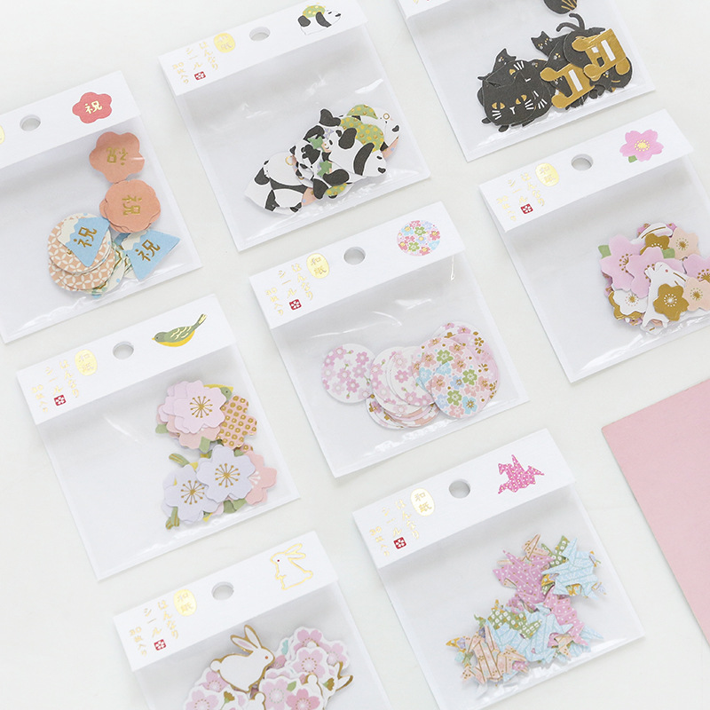 30 Pcs /Pack Kawaii Washi Panda Cat Sakura Bird Rabbit Cranes Wishes Mini Adhesive Stickers Stick Label Decoration Stickers