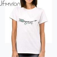 White Oversized Print Letter Love Tops Mujer Women Arrow Short Sleeve O Neck T shirt Plust Size Loose T-shirt Femme Korean tees