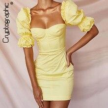 Criptográfico de moda Vintage Collar cuadrado vestido para las mujeres amarillo de manga Puff vestidos Sexy sin espalda Slim Otoño de 2021