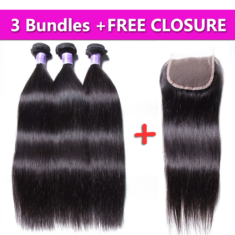 UNice Hair Kysiss Virgin Brazilian Straight Bundles Human Hair Weaves 3PCS Send One Free Closure Brazilian