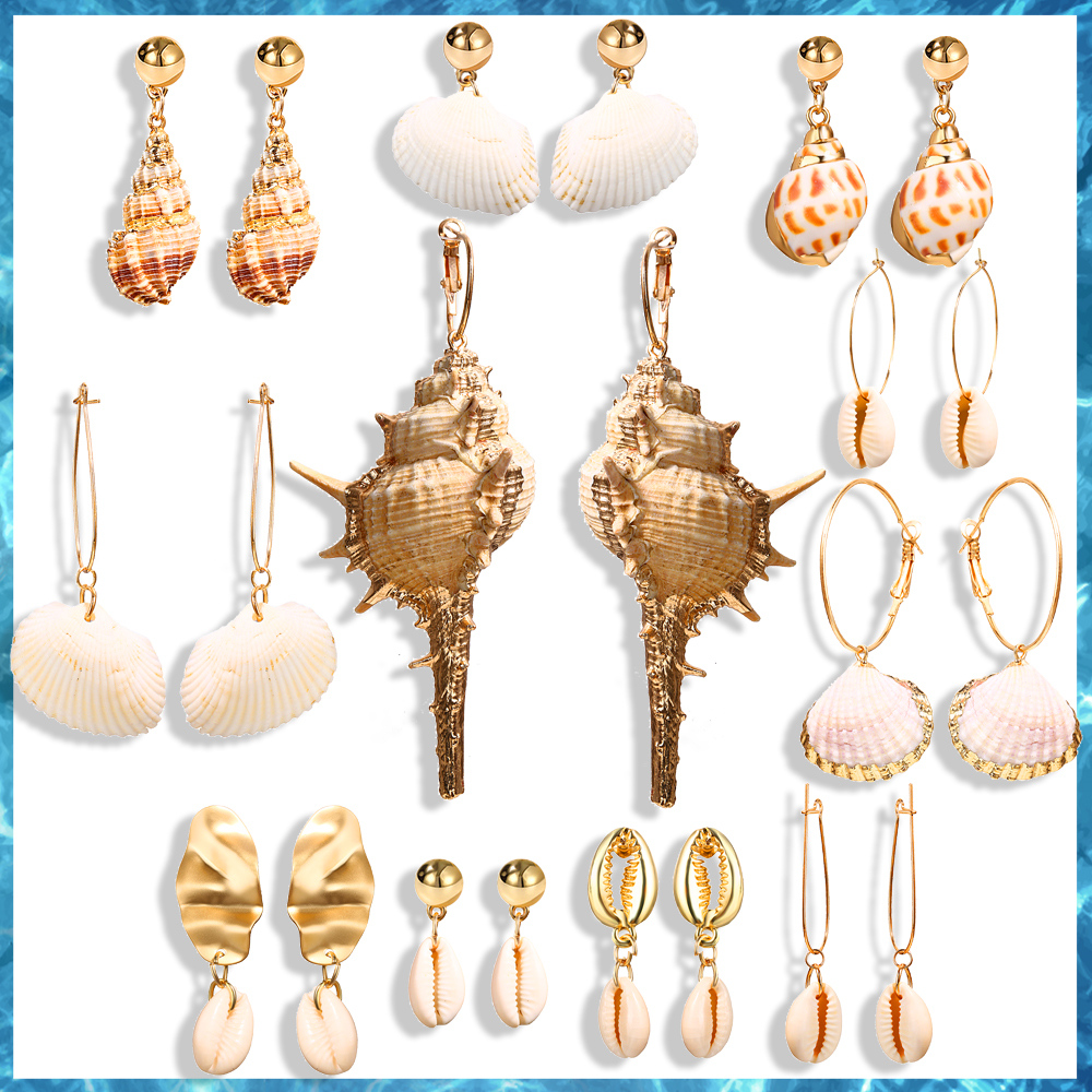 Fashion 2019 Korean Sea Shell Cowrie Bohemia Women Dangle Earrings Statement Summer Beach Vintage Drop Earring Brincos Jewelry
