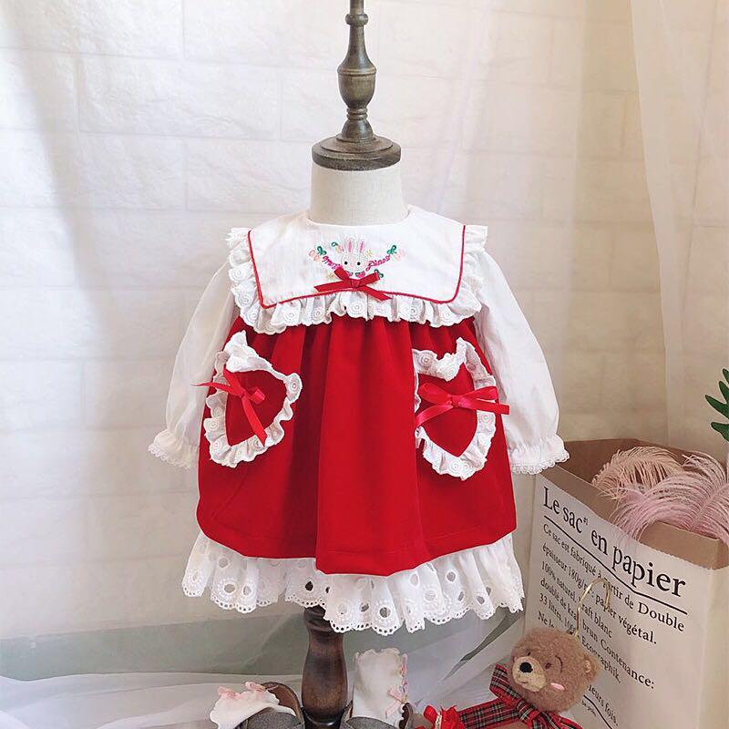 2PCS 0 5Y Baby Girl Autumn Winter Velvet Vintage Red Vest Dress Spanish England Doll Princess