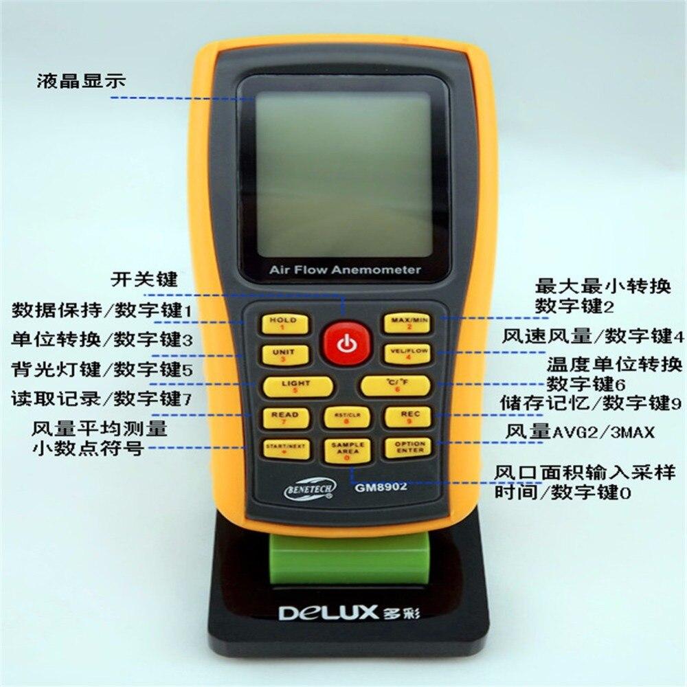 GM8902 Digital Anemometer Wind Speed Meter Air Flow Tester Air Temperature Meter Measuring 0~45m/s with USB Interface  цены