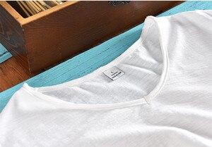 Image 3 - Мужская хлопковая футболка с коротким рукавом, Повседневная белая футболка с v образным вырезом в итальянском стиле, летняя брендовая одежда