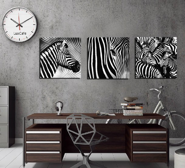3 panel no frame wall art black and white zebra wall art picture canvas oil painting