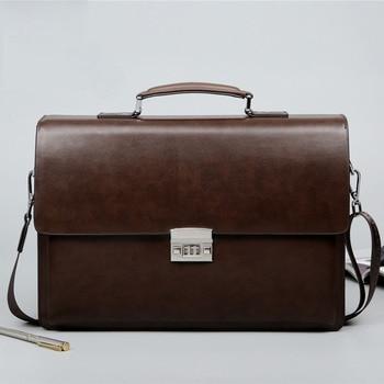 Anti-Thief PU Leather Briefcase Business Bag Apparels Bags Briefcase Men's Bag Messenger Bags Messenger Bags