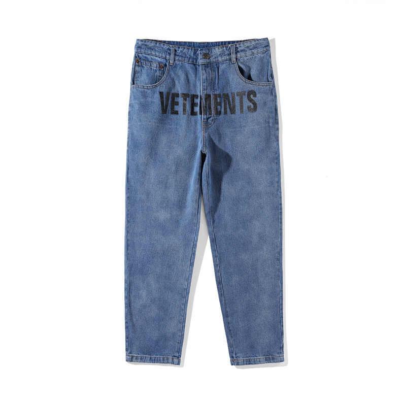 43804cdeb3b Best Version Sup Vetements Women Men Jeans trouser jumpsuit urban hip hop  punk motorcycle blue distressed