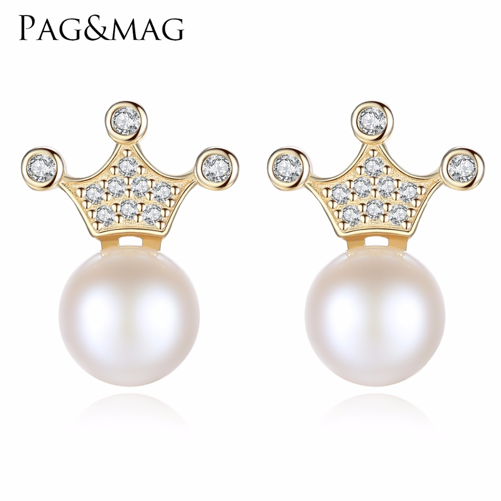 PAG&MAG Brand Hot Sale Crown Natural Pearl Earrings