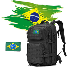 Brazil Logo Military Tactical Backpack 50L Men Outdoor Army Molle 1000D Waterproof Bag For Hiking Camping Hunting Mountaineering