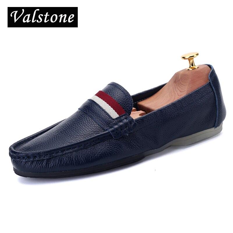 Valstone Braukšana ar pilsētas braucamrīkiem Cilvēka saliekamās baleta kurpes vieglie dzīvokļi vīriešu dzimtas hombre Kvalitāte Ikdienas ādas kurpes Melni Baltas