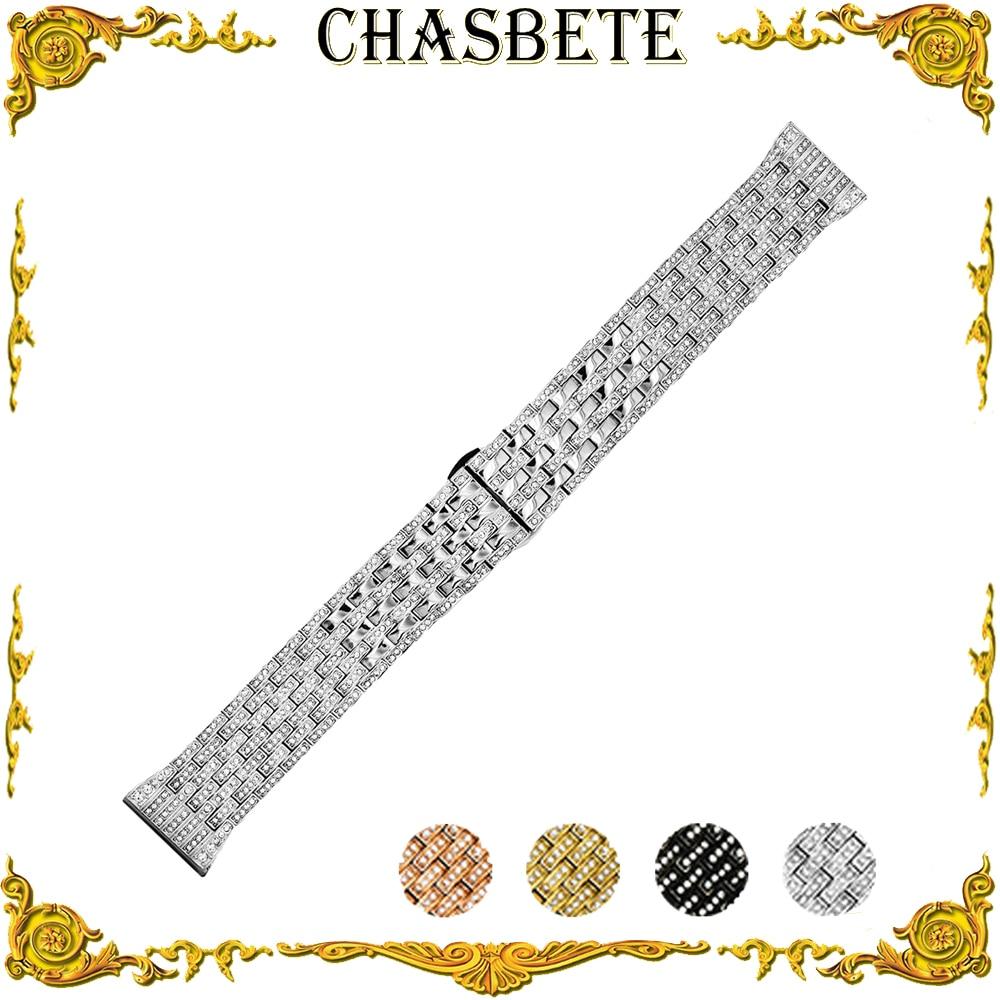 цена на 21mm Stainless Steel Watch Band Universal Watchband Push-Button Hidden Clasp Metal Strap Wrist Loop Belt Bracelet Black Silver