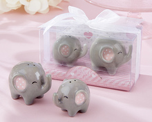 50pcs/lot(25boxes) Baby souvenirs Little Elephant Salt and Pepper Shaker Baby shower Gift For Baby Birthday Decoration Favors