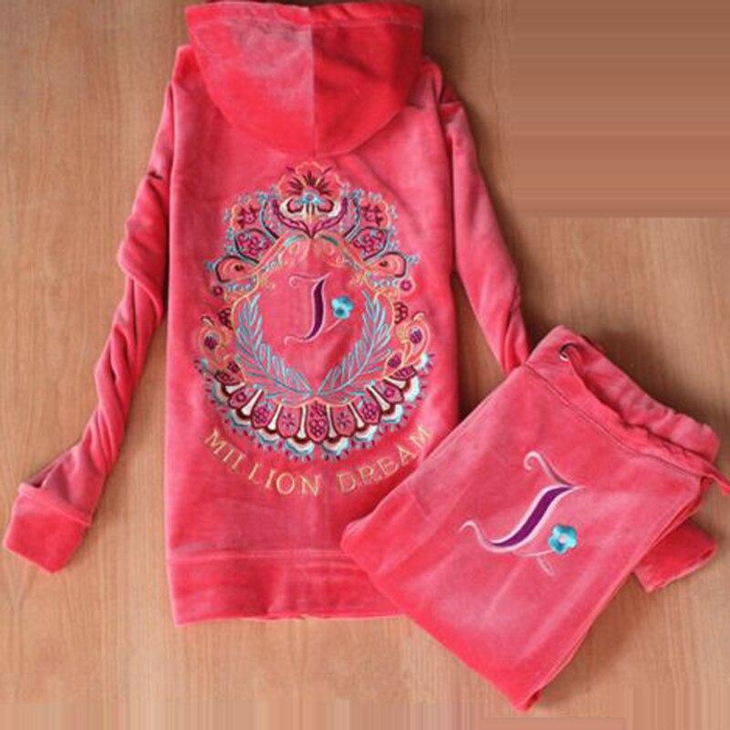 Primavera/otoño/2019 chándales de tela de terciopelo de marca para mujer rojo kyliejenn-in Conjuntos de mujer from Ropa de mujer    1