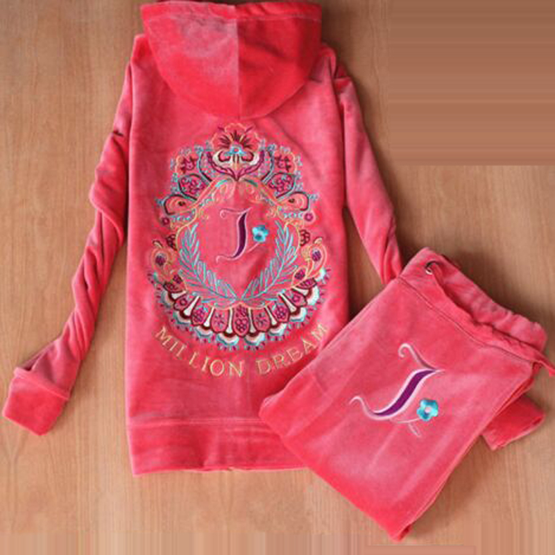 Spring / Fall /2019 Women's Brand Velvet fabric Tracksuits Velour suit women Track suit Hoodies and Pants Rose red kyliejenn-in Women's Sets from Women's Clothing    1