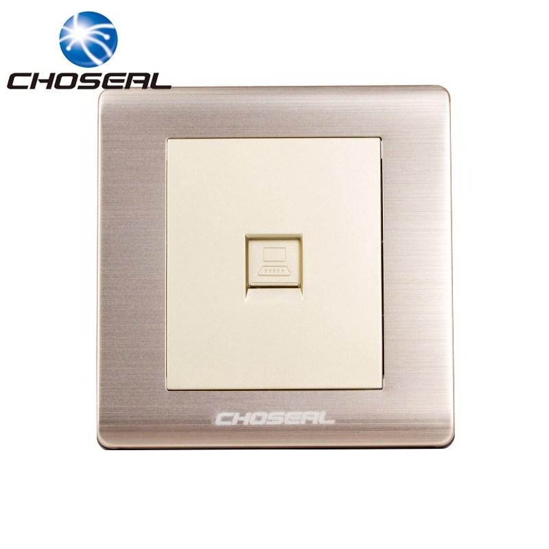 Choseal QD4901 RJ45 Computer Network Socket Aluminium Alloy Single Port Wall Mount Outlet Plate For Home Network Decorating