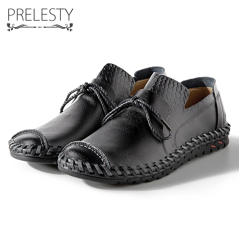Prelesty Causal Men Leather Shoes Genuine Cow Leather Outdoor Slip on Handmade Classical Autumn Summer Breahtable Anti-resisting