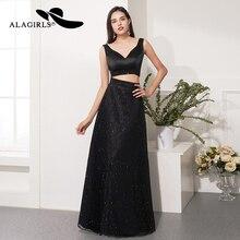Alagirls 2-Piece Prom Dress 2019 New Design A Line Black Evening V-Neck Party Formal Woman Dresses Robes de bal