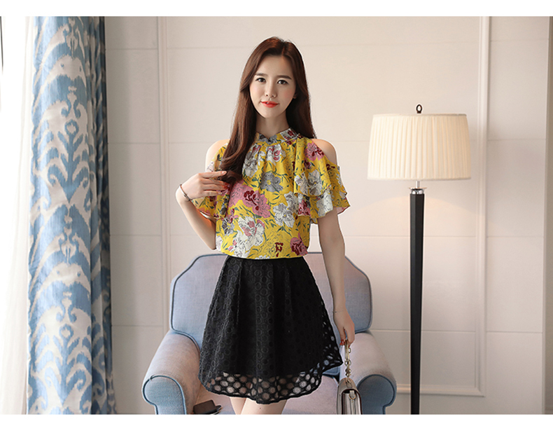 HTB129zfafvsK1Rjy0Fiq6zwtXXaS - fashion woman blouses print chiffon women blouse shirt off shoulder tops summer tops womens tops and blouses blusas 0175 60