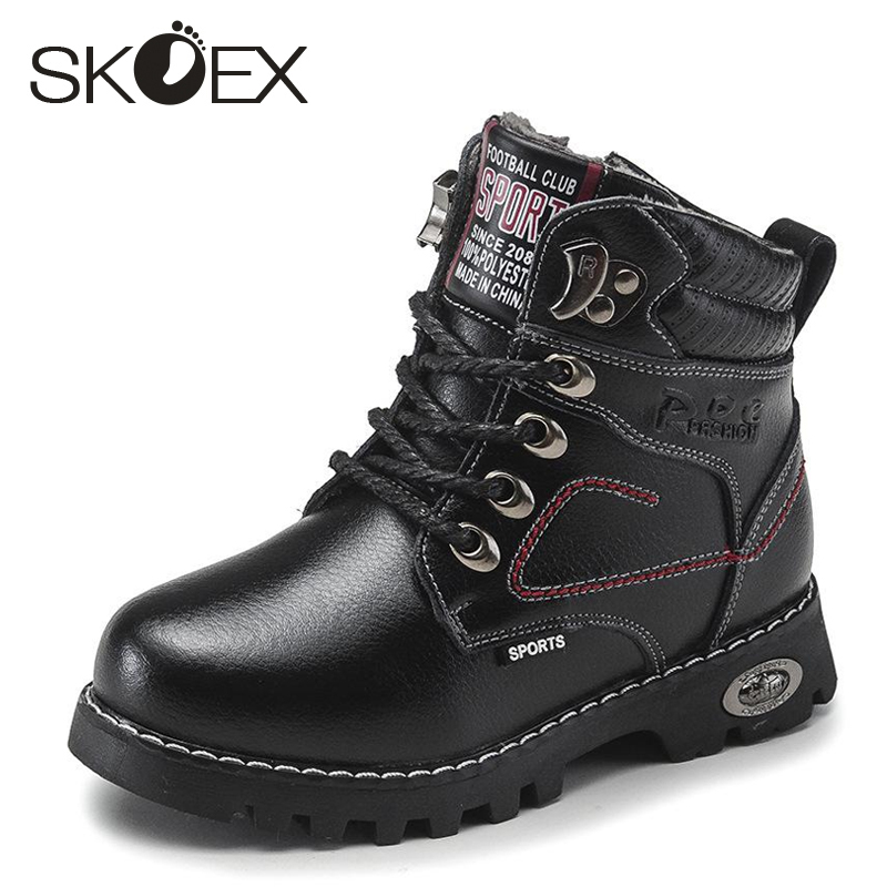 SKOEX Children Snow Boots Baby Ankle Boot Kids Shoes For Boys Thick Plush Bow High Top Boy Shoe Male Winter Genuine Leather babyfeet 2017 winter fashion warm plush high top genuine cow leather children ankle girls snow boots kids boys shoes sneakers