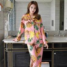 2018 Autumn Imitation silk Pajamas set Fashion Style Home Clothing Ladies printing  Pineapple Pajama Set Female 7744d0165