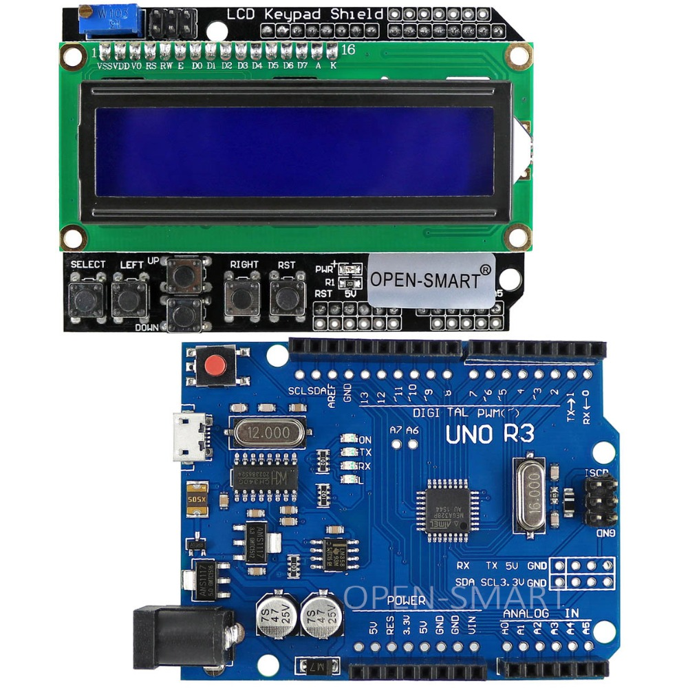 Micro USB UNO R3 ATmega328P Development Board + LCD 1602 Keypad Shield For Arduino