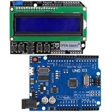Micro usb uno r3 atmega328p placa de desenvolvimento + lcd 1602 teclado escudo para arduino