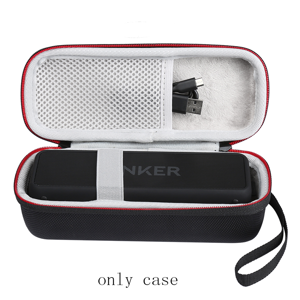Portable Wireless Bluetooth EVA Speaker Case For Anker SoundCore 2 With Mesh Dual Pocket Audio Cable Carrying Travel Bag-Black колонка anker premium stereo bluetooth speaker black a3143011
