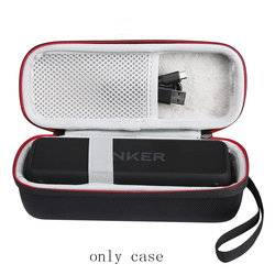 Portable Wireless Bluetooth EVA Speaker Case For Anker SoundCore 2 With Mesh Dual Pocket Audio Cable Carrying Travel Bag-Black