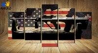 Moda Da bandeira Americana fundo arma cartaz da lona pintura de parede arte decoração para sala de estar não emoldurado MS0040
