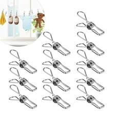20pcs Multipurpose Stainless Steel Clips Clothes Pins Pegs Holders Clothing Clamps Sealing Clip Household Clothespin(China)