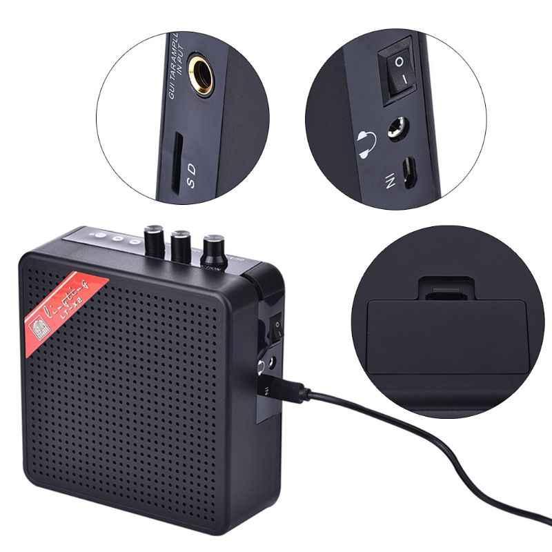 Novo mini 5 w 9 v bateria recarregável portátil guitarra elétrica baixo amplificador amplificador alto-falante com bluetooth qiang