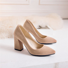 women pointed toe thick High heels pumps woman nubuck suede shoes 2018 summer autumn Female elegant womens work Pumps