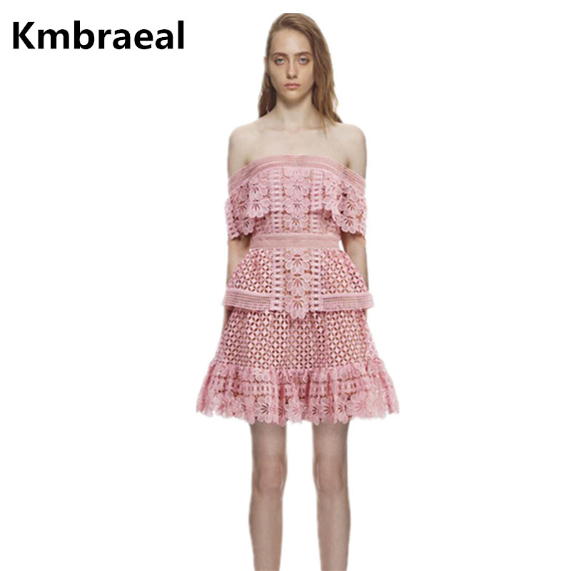 Us 3016 20 Off2018 Summer Self Portrait Sexy Off Shoulder Slash Neck Lace Dress Runway Cake Layered Hollow Out Backless Pink Red Mini Dress In