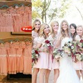 2017 New Arrival Bridesmaid Dress Blush Pink Coral Peach Short Lace Applique Chiffon Cheap Brides maid Dress Free Shipping