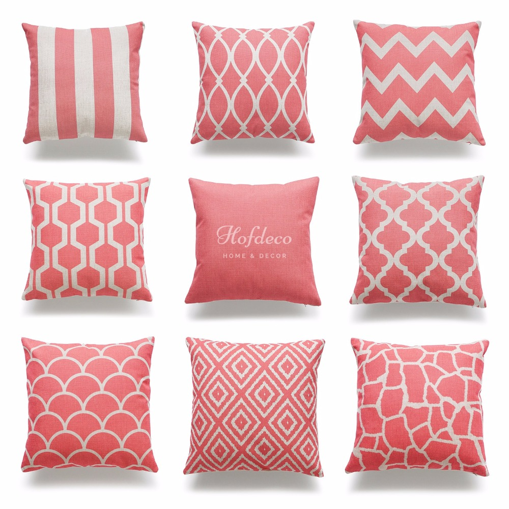 Decorative Throw Pillow Case Coral Pink Geometric Quatrefoil Cotton Linen HEAVY WEIGHT FABRIC ...