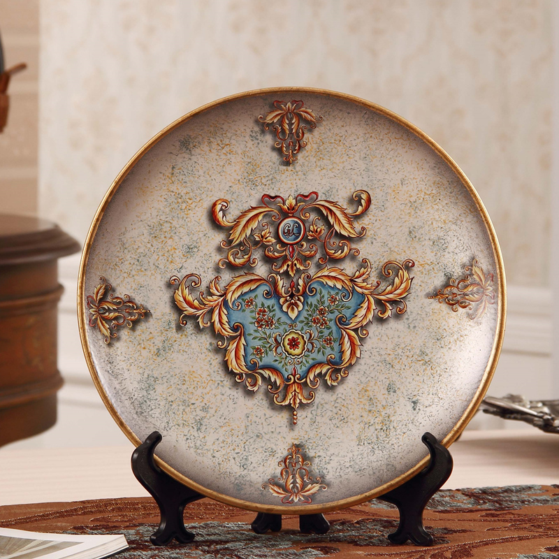 European classical decorative plate ornaments hand-painted ceramic crafts room Home Furnishing pendulum disc squatsEuropean classical decorative plate ornaments hand-painted ceramic crafts room Home Furnishing pendulum disc squats