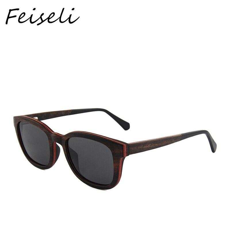 Feiseli Vintage lunettes de soleil en bois Style marque Designer femmes hommes bois soleil verre oculos de sol