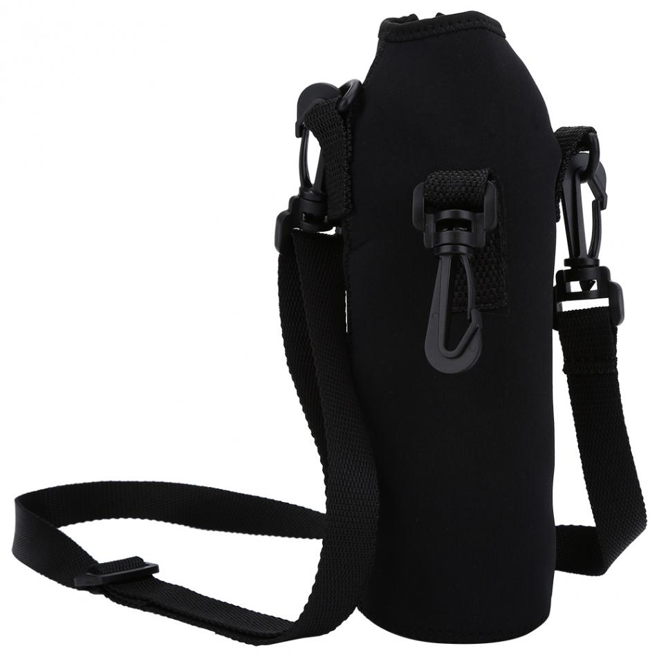 Outdoor Black Neopren Sport Water Bottle 1L Thermal Holder Case Cover with Strap