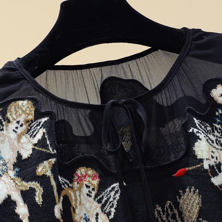 Chandails Tricoter Automne Broderie Hivers Chandail Femme À Noir Ange Dames Chemise Filles Tops Jumoers Mode Nouveau Pull Amour De XZxqwzzf