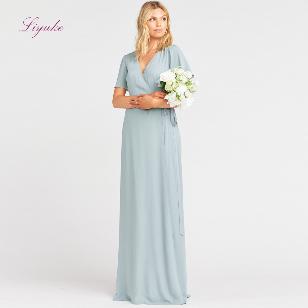 Liyuke A line   Bridesmaid     Dress   Long   Dress   V-Neck Short Sleeves Sashes Chiffon Simple Design Customized Free Shipping