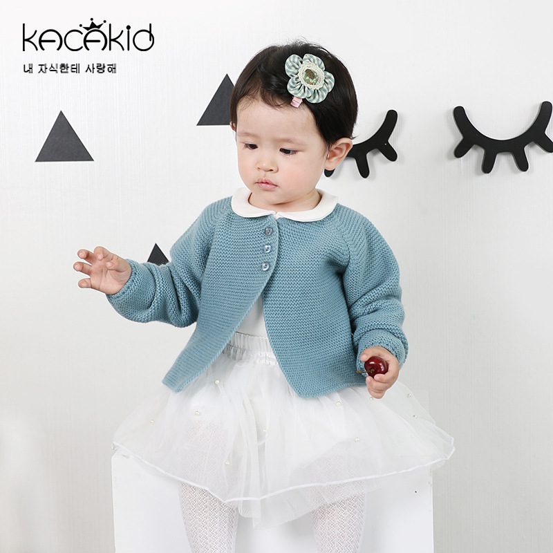 Kacakid Children Baby Girl Sweater Girls boys Candy Color Knitted Cardigan Kids Long Sleeve O-neck Casual Outer Wear Sweater sweet high neck candy color sweater